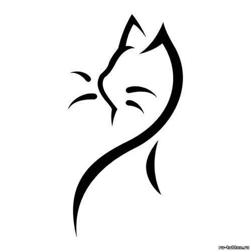 Эскиз татуировки кошки