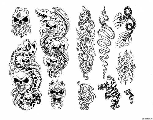 Эскизы татуировок тату змей эскизы
