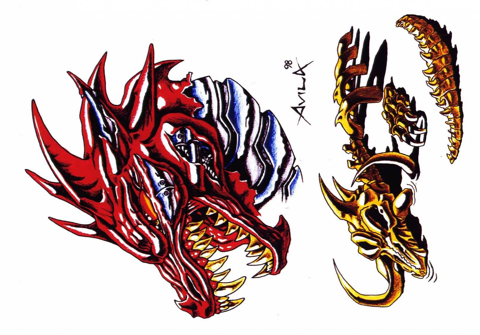 Фото эскизы тату для драконов
