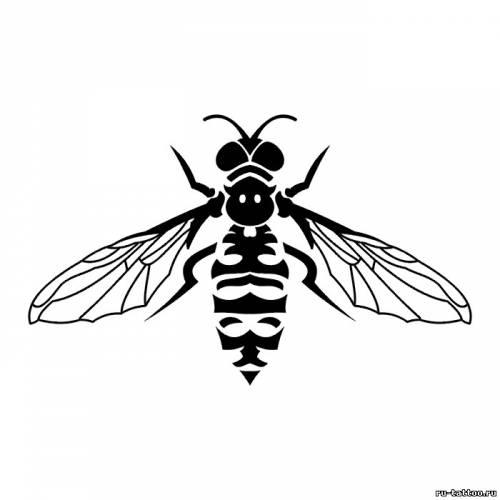 Эскиз пчелы тату