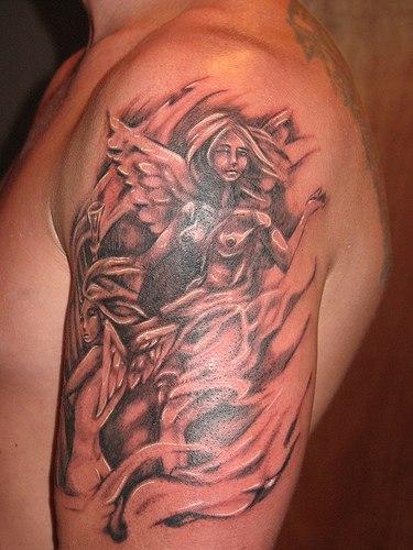 Тату ангела на руке
